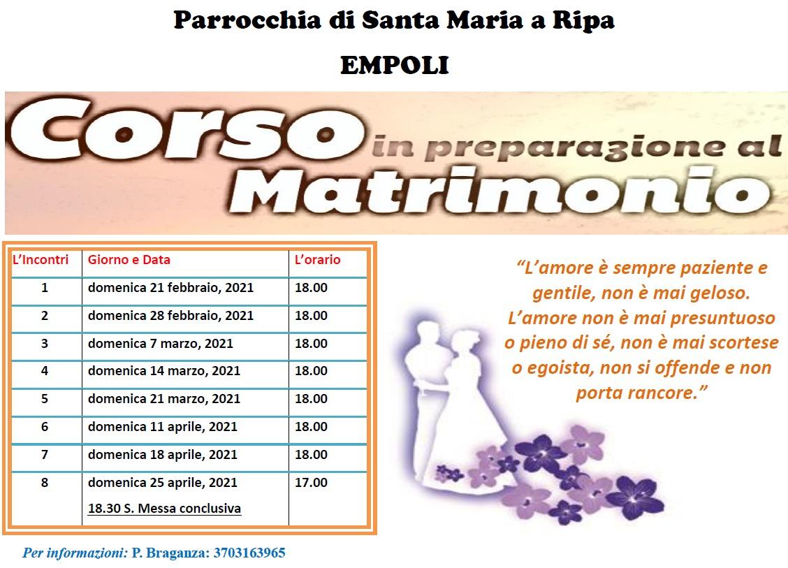 CORSO IN PREPARAZIONE AL MATRIMONIO
