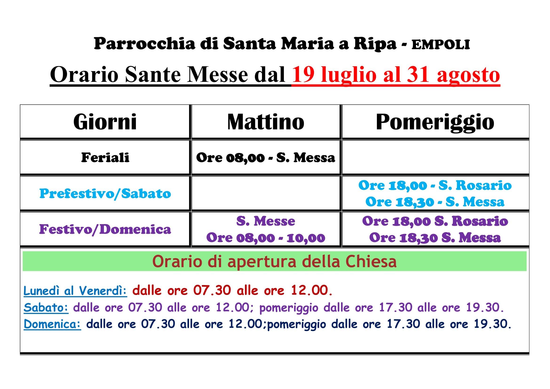 Orario Estivo Sante Messe dal 19 Luglio al 31 Agosto-1